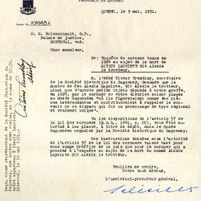 Lettre du Département du Procureur général de la Province de Québec autorisant l'abbé Victor Tremblay à prendre possession des objets ayant appartenu à Alexis le Trotteur. Cour de magistrat pour le district de Roberval, 1924. BAnQ Saguenay (TL346, S26, SS1, dossier 193)