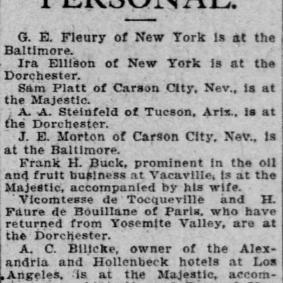 H. Faure de Bouillanne - The San Francisco Call (San Francisco, California) Friday, June 15, 1906 (extrait)