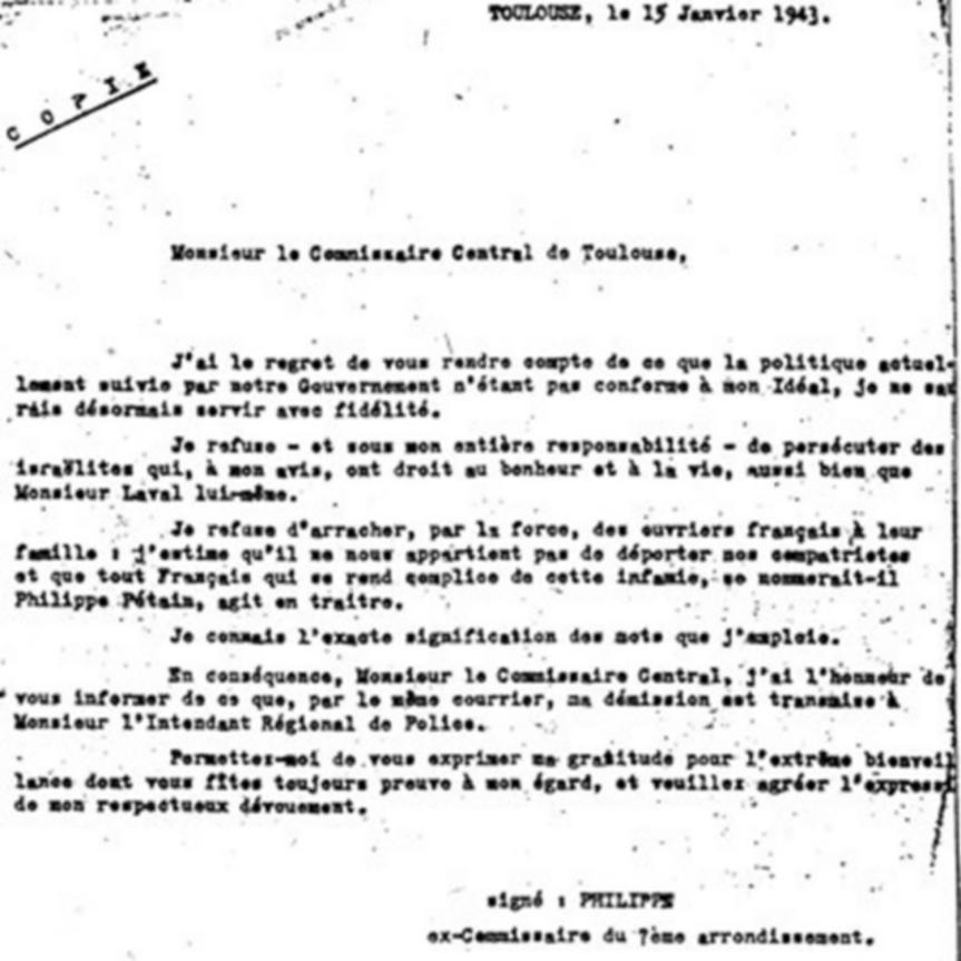 Copie de la lettre de refus signée Jean Philippe.