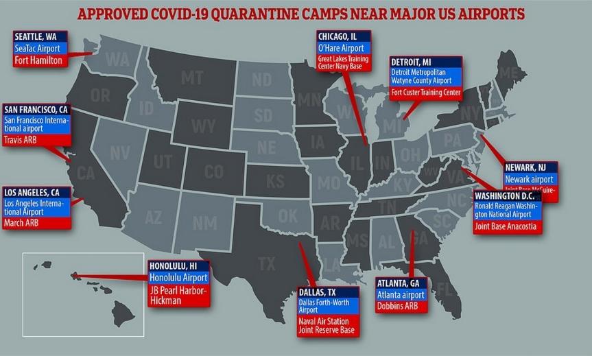 L'armée américaine approuve 11 camps FEMA de quarantaine de coronavirus à côté des principaux aéroports américains. (Daily Mail)