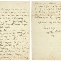 Lettre autographe signée par Charles Baudelaire à Philoxène Boyer. [Paris, fin juin 1855]