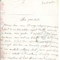 Lettre écrite et signée de la main de Philoxène Boyer, 1 page in-8 (13,5 x 20 cm) plus page d'adresse, au Président de la Société des Gens de Lettres