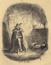 Guy Fawkes selon l'artiste britannique George Cruikshank. Illustration du roman Guy Fawkes (1840) de William Harrison Ainsworth.