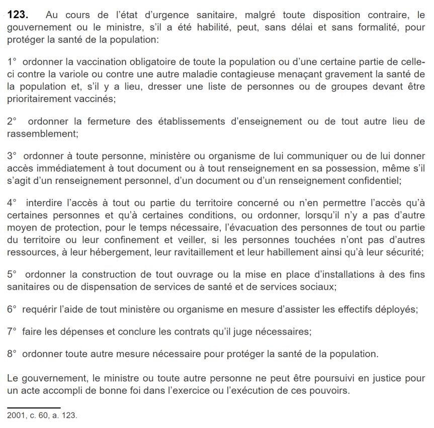 Loi sur la santé publique. Chapitre XI, Section III