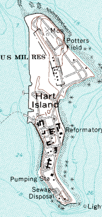 Une carte de Hart Island (1966).