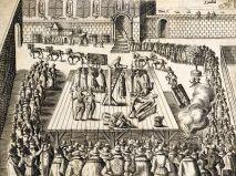 Une gravure de 1606 décrivant l'exécution de Guy Fawkes et de trois conspirateurs le 31 janvier à Westminster.