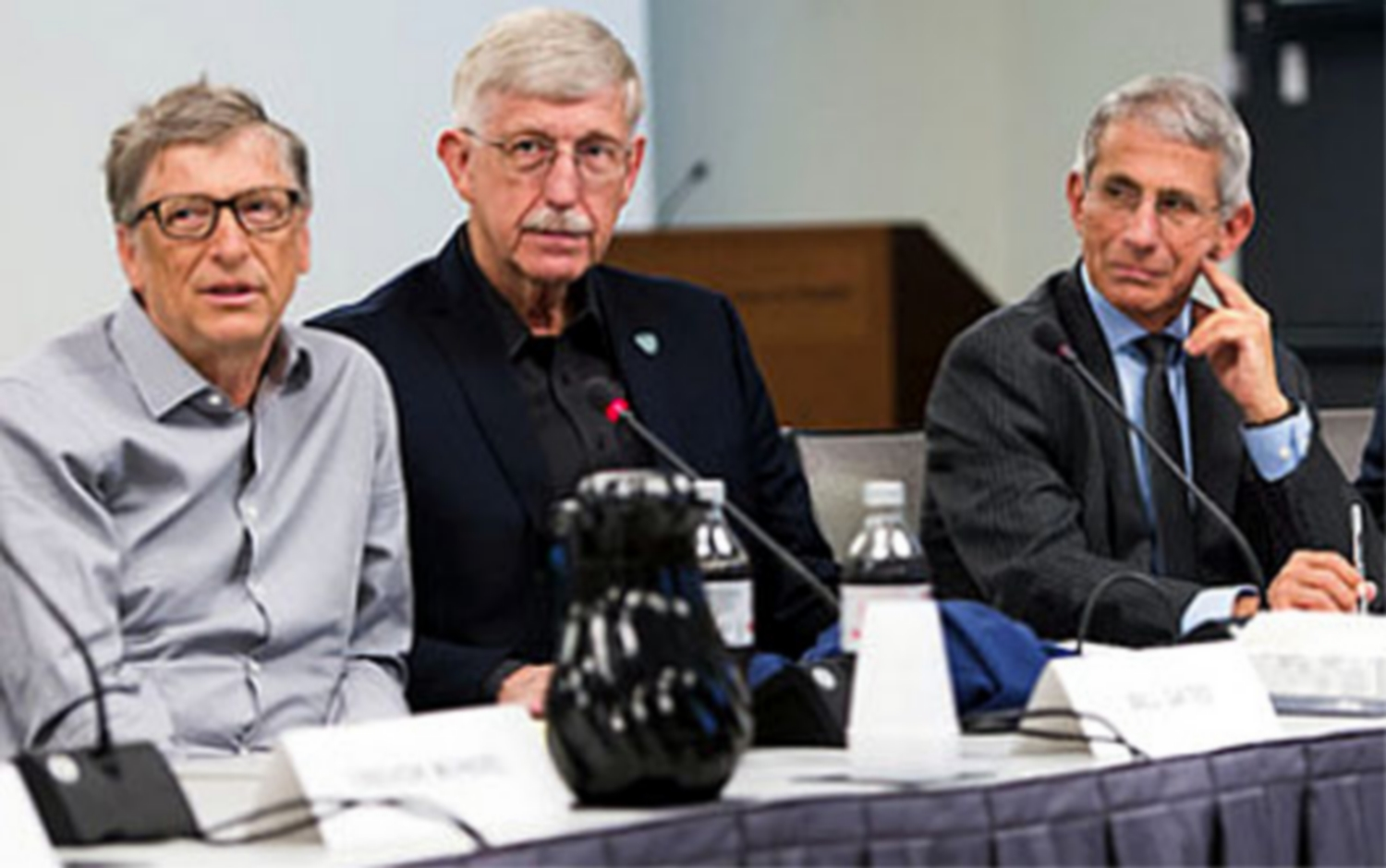Bill Gates, left, NIH director Dr. Francis Collins and NIAID director Dr. Anthony Fauci at a 2017 Gates Foundation global health workshop on topics that included vaccine research.