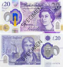 Billet de 20 £ en polymère le 20 février 2020 (recto - verso)