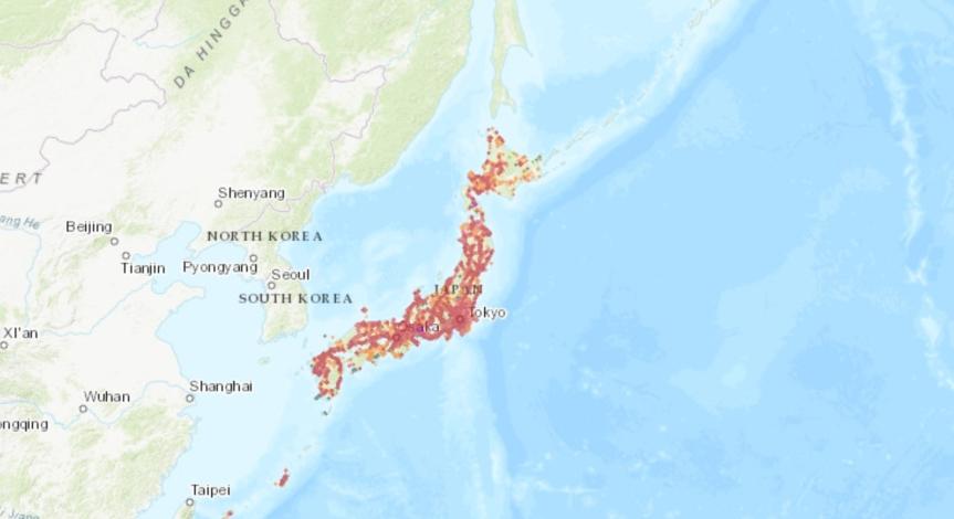 nPerf : Carte de couverture 3G/4G/5G au Japon. Réseau mobile cellulaire NTT DoCoMo.