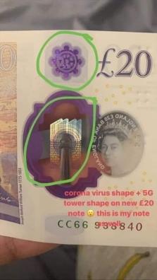 La 5G et le coronavirus sur le billet de 20 £ en polymère émis le le 20 février 2020.