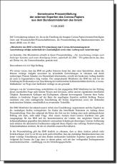 Communiqué de presse conjoint des experts externes sur le document Corona du ministère fédéral de l'Intérieur (11 mai 2020)