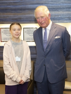 Greta Thunberg and H.R.H. The Prince of Wales at the World Economic Forum Annual Meeting 2020 in Davos