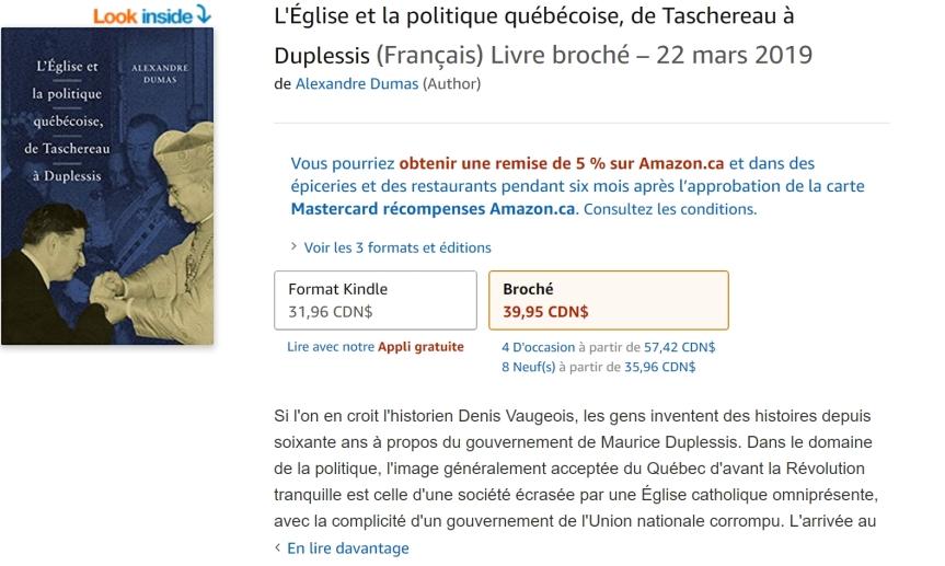 Livre - L'Église et la politique québécoise, de Taschereau à Duplessis