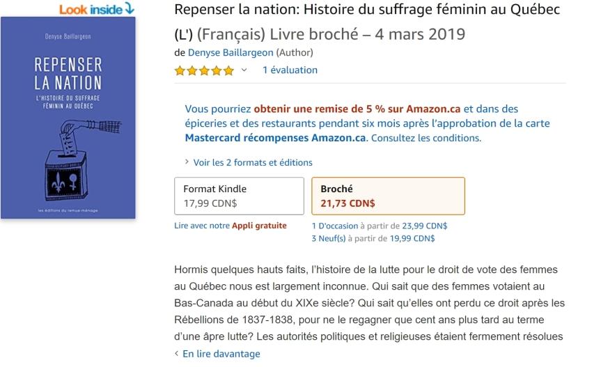 Livre - Repenser la nation. L'histoire du suffrage féminin au Québec