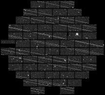 Pollution du signal d'une image du CTIO par le passage des trains de satellites starlink (333 secondes d'exposition).