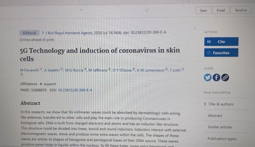 L'étude du Dr Massimo Fioranelli « Technologie 5G et induction du coronavirus dans les cellules de la peau » censurée après 8jours