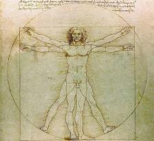 L'Homme de Vitruve, parmi les notes de Léonard de Vinci (fin du XVe siècle)