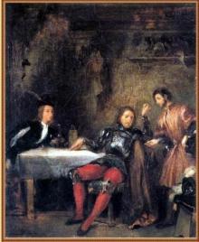 Quentin et son oncle le Balafré. À droite, Andrew, le « coutelier » de ce dernier. Esquisse d'Eugène Delacroix, musée des Beaux-Arts de Caen, vers 1828-1829.