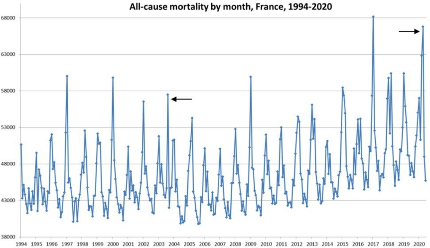 All-cause mortality by month in France from 1994 to 2020