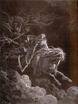 Le quatrième cavalier, celui de la Mort, sur le cheval pâle. Gravure de Gustave Doré (1865)