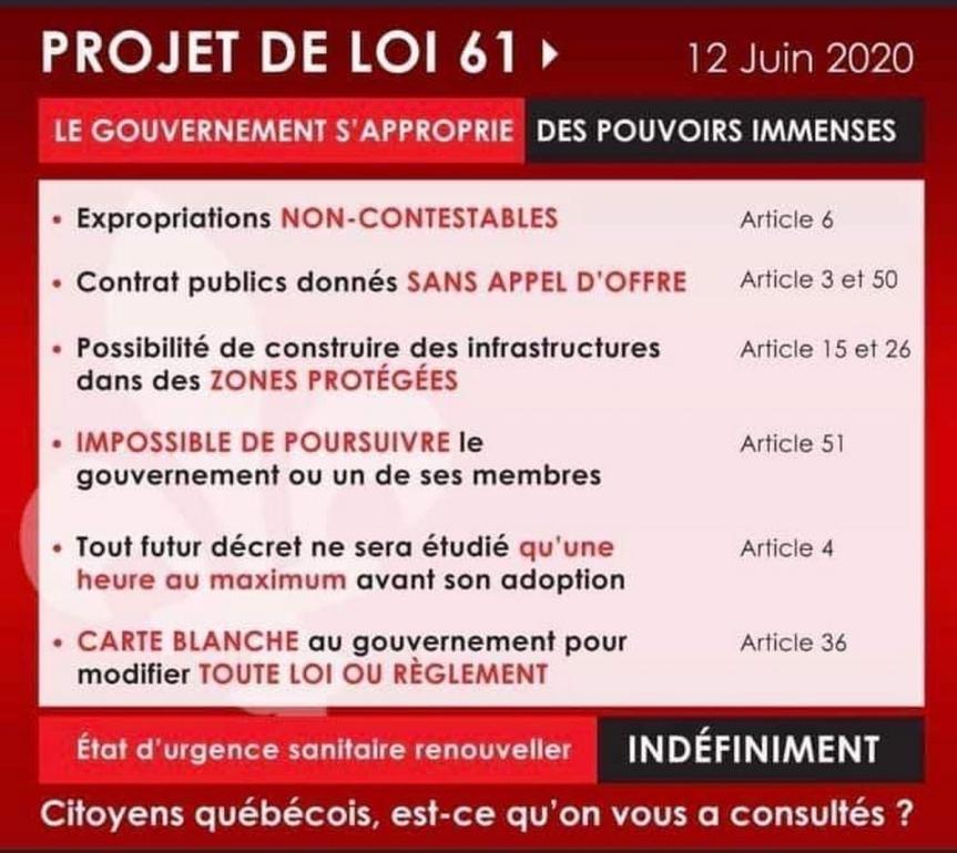 Loi 61, Québec