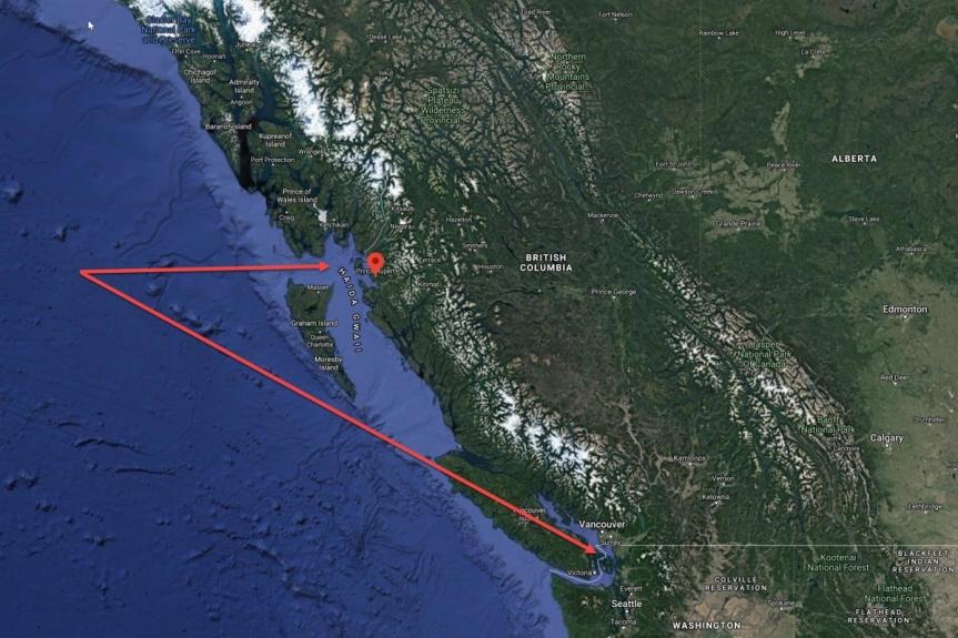 La carte ci-dessous montre où la Chine rassemblerait ses troupes à Prince Rupert et à Salt Spring Island, en Colombie-Britannique (Canada)