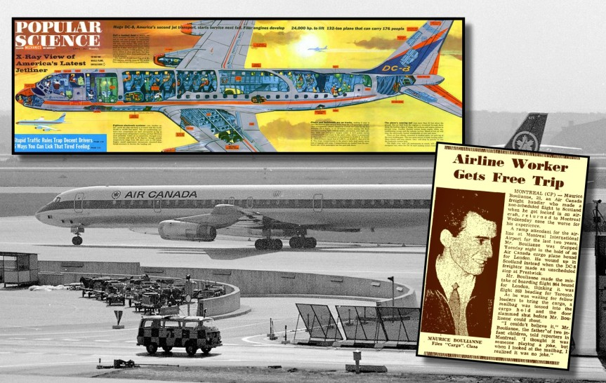 La mésaventure de Maurice Boulianne, un passager clandestin involontaire vers l'Écosse, dans un avion cargo DC8 d'Air Canada en1966