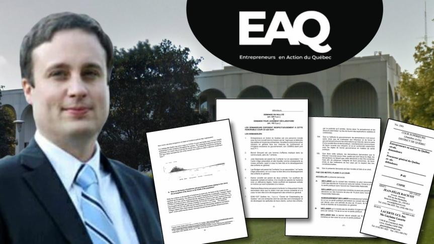 Les avocats Jean-Félix Racicot et Guylaine Lacerte ont déposé une demande en justice au nom des Entrepreneurs en Action du Québec contre le gouvernement de FrançoisLegault