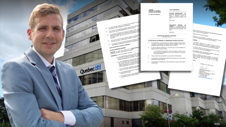 Un avocat de Gatineau, Me William Desrochers, conteste le couvre-feu du gouvernement de François Legault devant la Coursupérieure