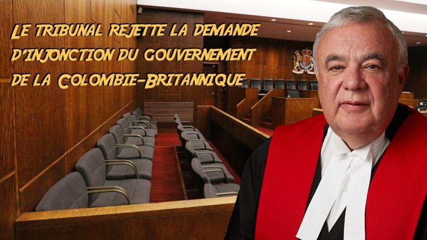 Le juge en chef Christopher E. Hinkson rejette la demande d'injonction du gouvernement de la Colombie-Britannique contre deséglises