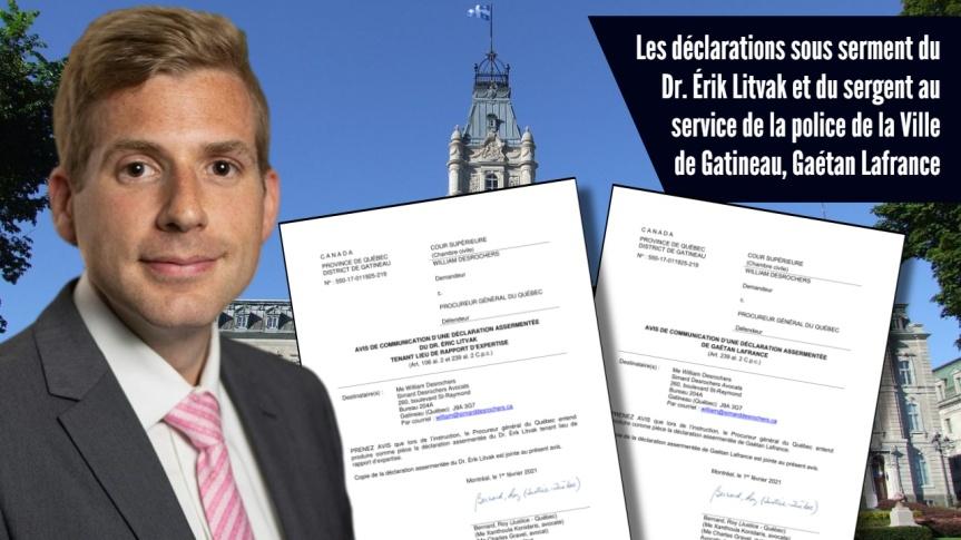 Me William Desrochers reçoit les déclarations sous serment du Dr Érik Litvak et de Gaétan Lafrance, sergent au service de lapolice