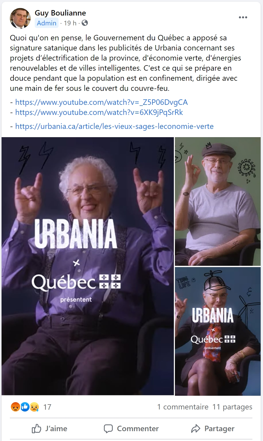 Facebook - Dernière publication de Guy Boulianne (12 avril 2021)