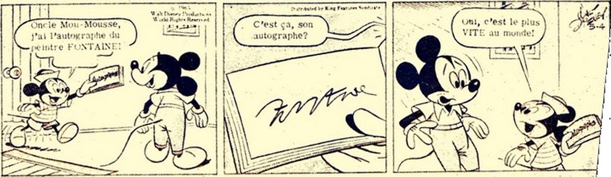 Walt Disney rend hommage à Andre´ Fontaine par une bande-dessinée de Mickey Mouse