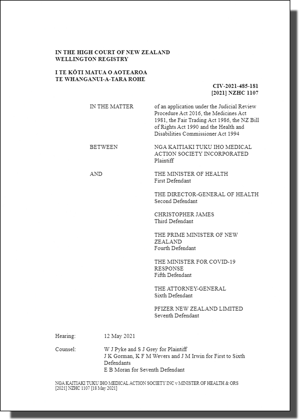 Nga Kaitiaki Tuku Ihu Medical Action Society Incorporated v The Minister of Health (Court Decision 18th May 2021)