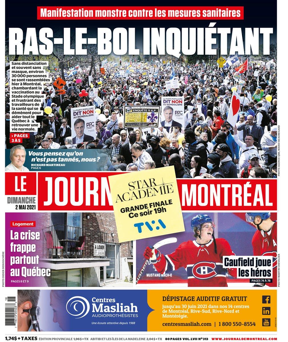 Québec Debout - Maxime Bernier, Journal de Montréal, 2 mai 2021