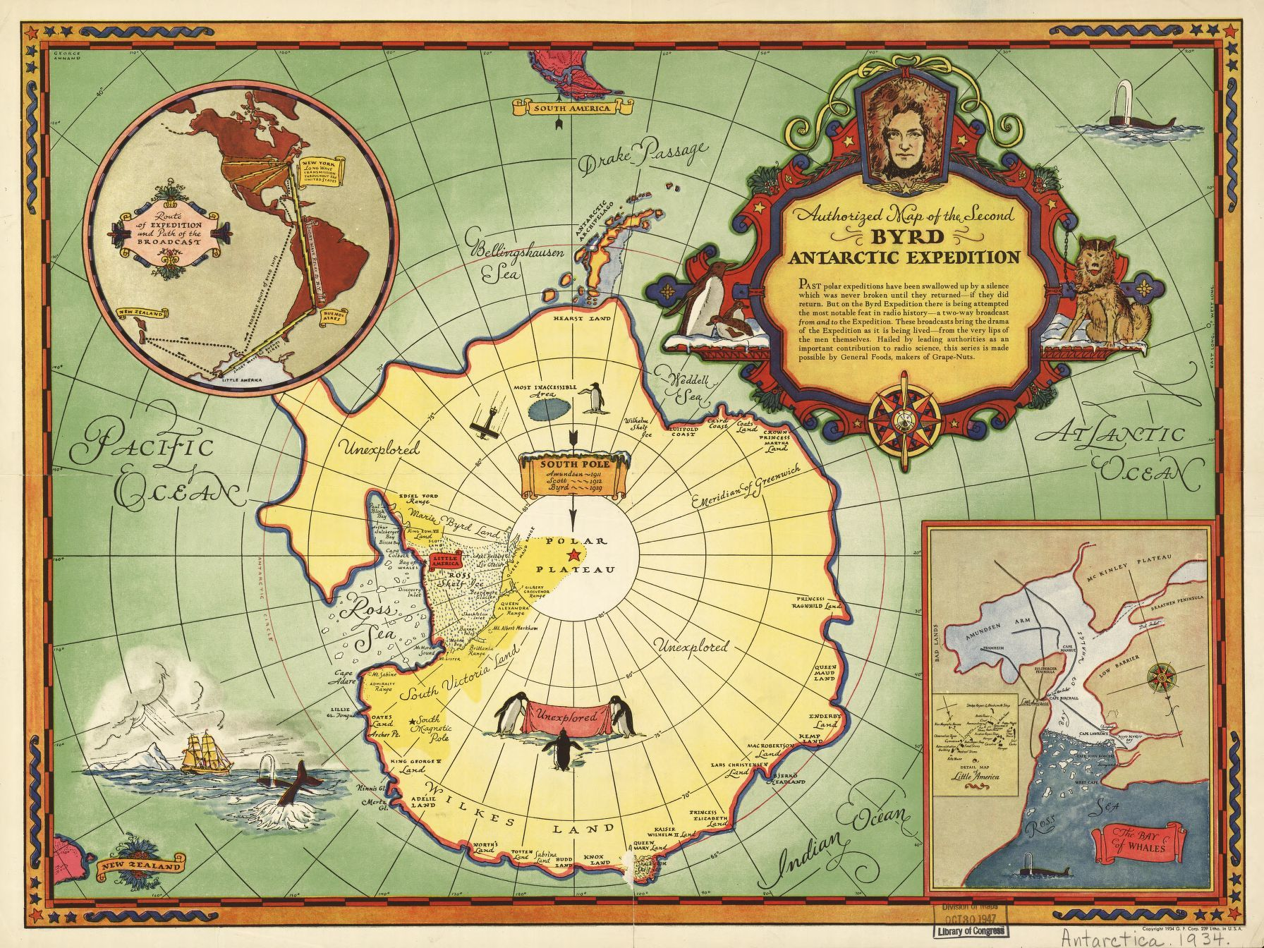 Authorized map of the Second Byrd Antarctic Expedition