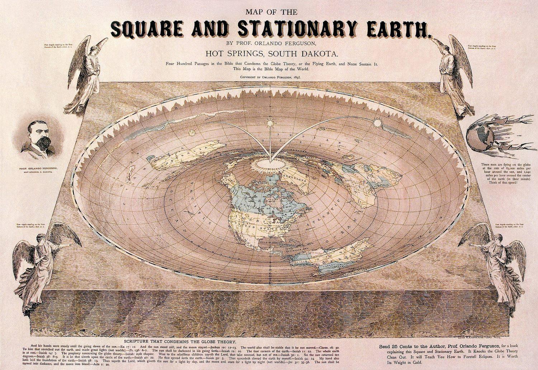 Carte de la Terre plate dessinée par Orlando Ferguson en 1893. La carte contient plusieurs références à des passages biblique.