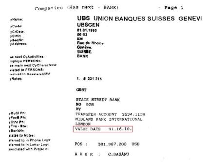 Christian Basano - Écran UBS et Telex 91