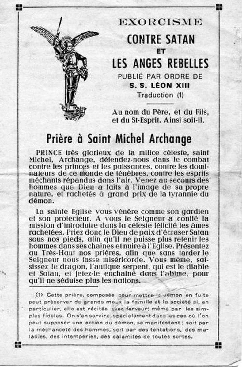 Exorcisme de Saint Michel
