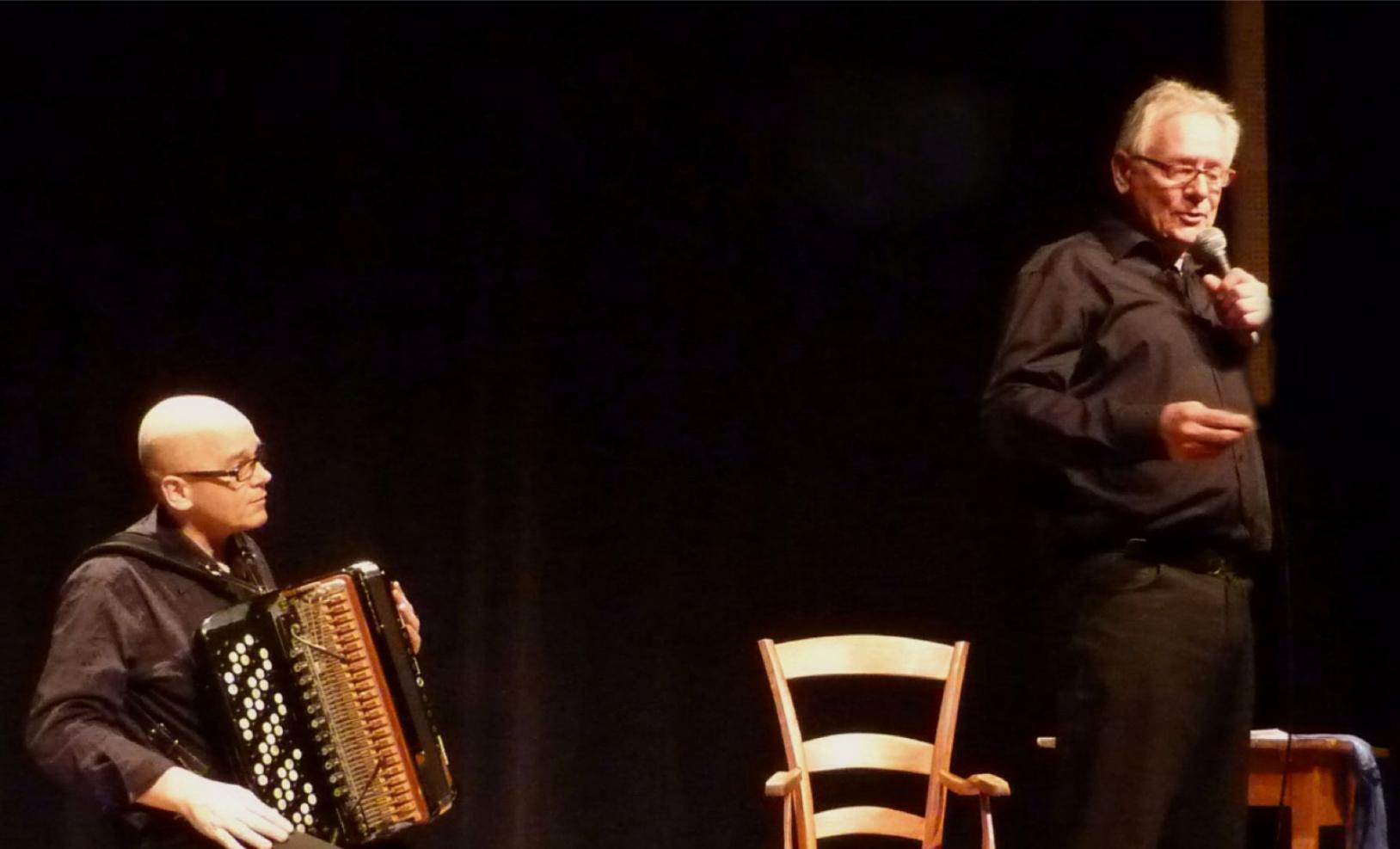 Patrick Bouillanne et l'accordéoniste Daniel Mille (2016)