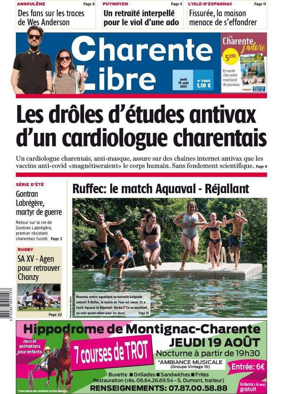 Charente Libre, Simon Lénaëlle, 19 août 2021 (page 1)