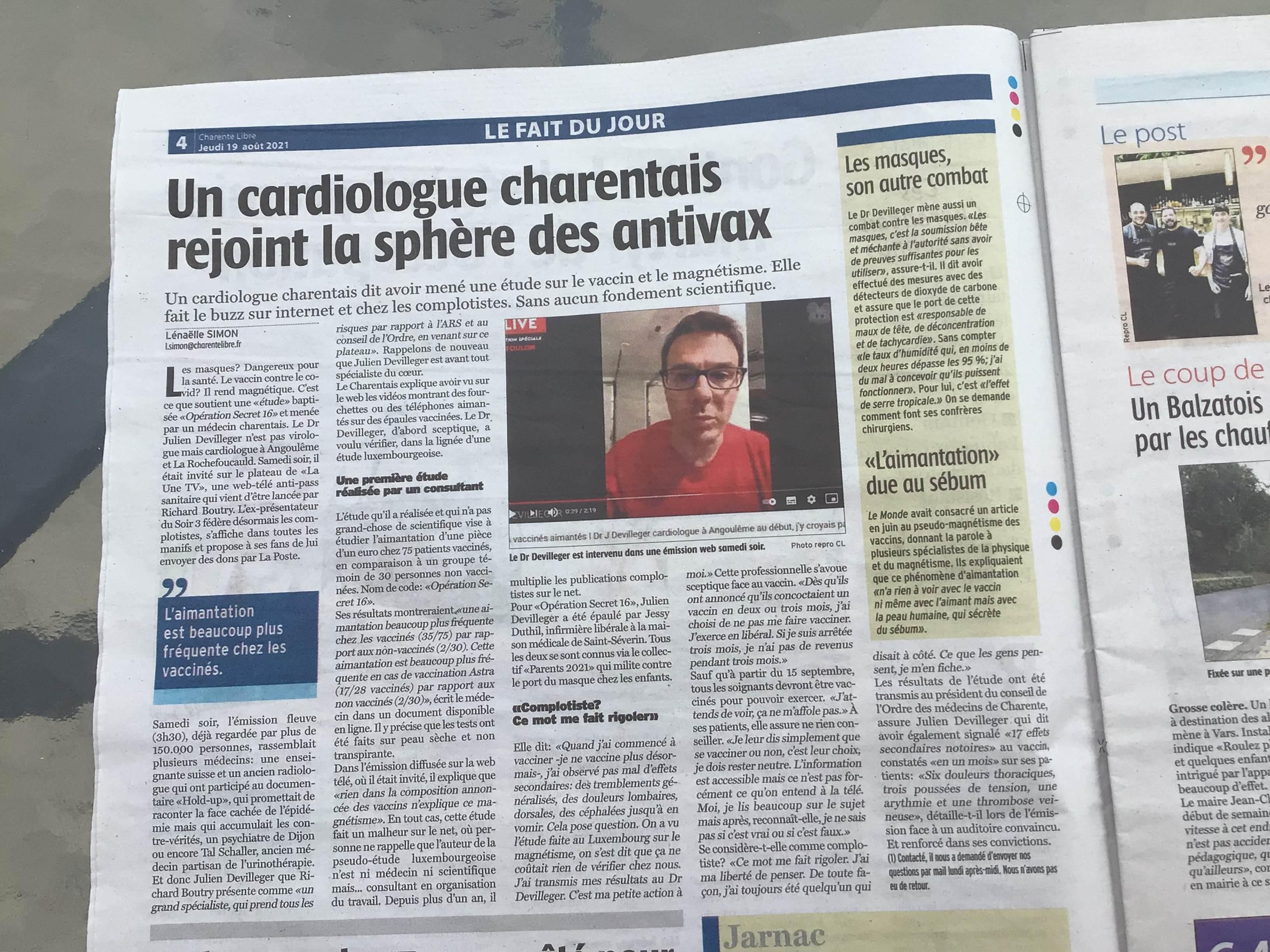 Charente Libre, Simon Lénaëlle, 19 août 2021
