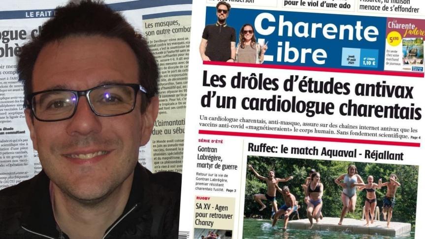 Étude observationnelle « Opération Secret 16 » sur le magnétisme chez les vaccinés: le Dr Julien Devilléger fait la une du journal CharenteLibre