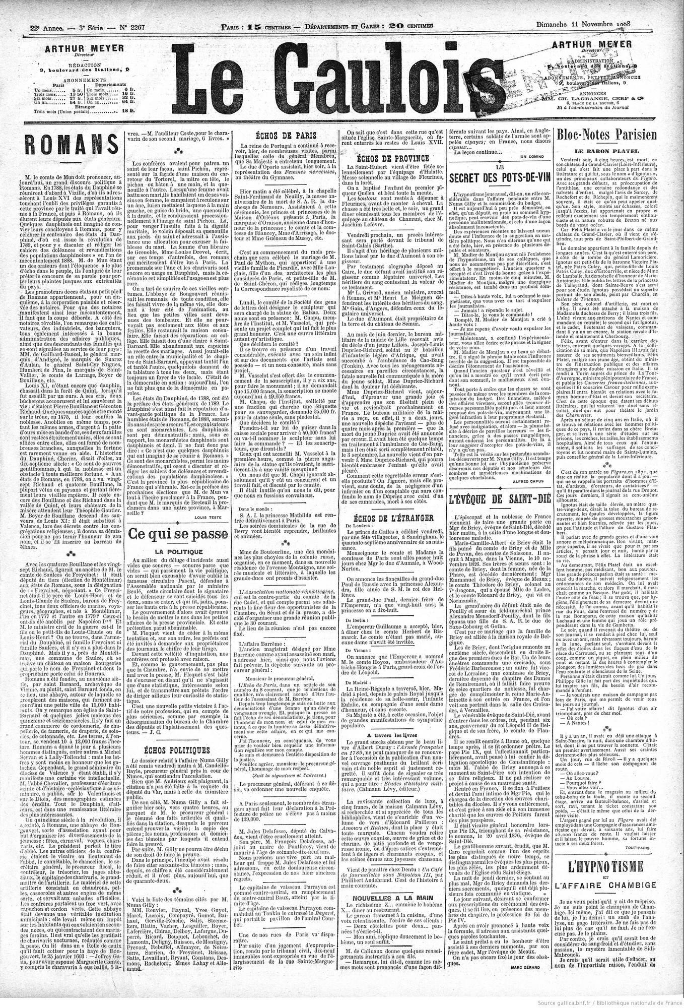 Le Gaulois, 11 novembre 1888