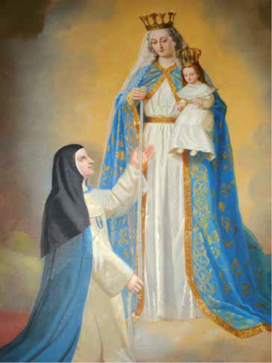 Mère Mariana mesure la taille de l'apparition avec le cordon de son habit religieux