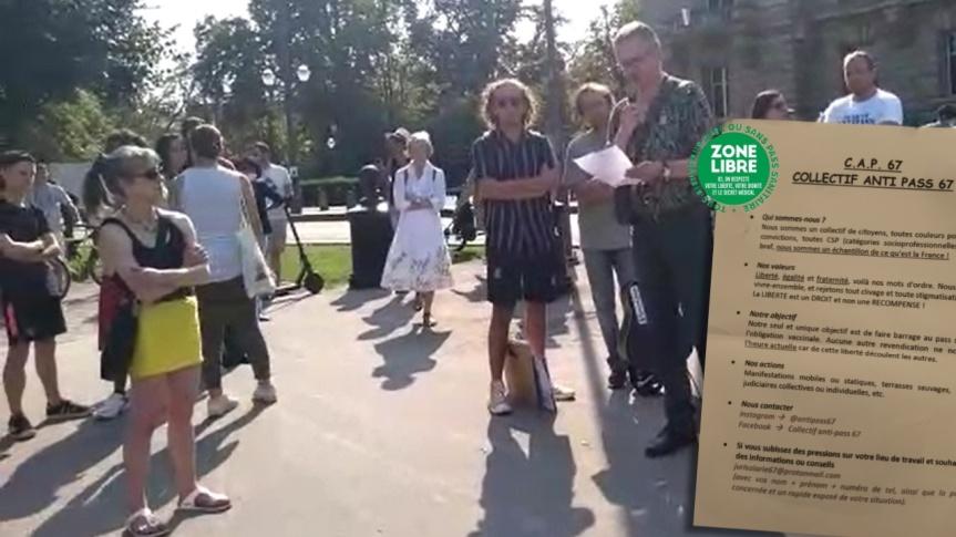 Mon ami Philippe Pfeiffer a lu son texte lors de la manifestation contre le passeport sanitaire sur la place de la République, àStrasbourg