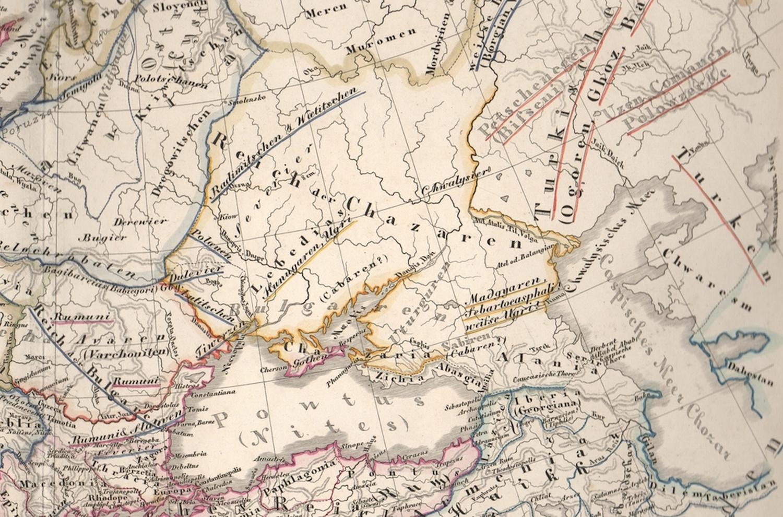 L'Empire Khazar, carte de l'Europe à l'époque de Charles le Grand, de Karl von Spruner, Historisch geographischer Hand Atlas (Gotha, 1854)