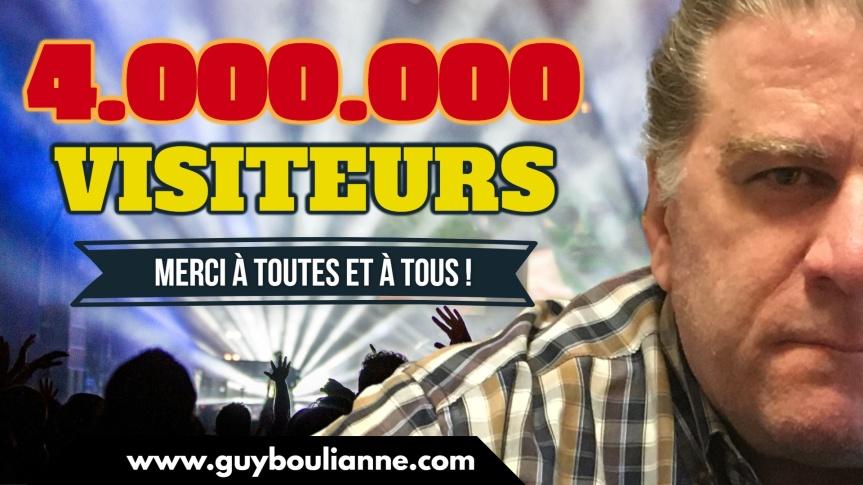 Célébration : Le site internet de Guy Boulianne a maintenant dépassé le cap de 4 000 000 visiteurs depuis sa création. Merci à toutes et à tous!