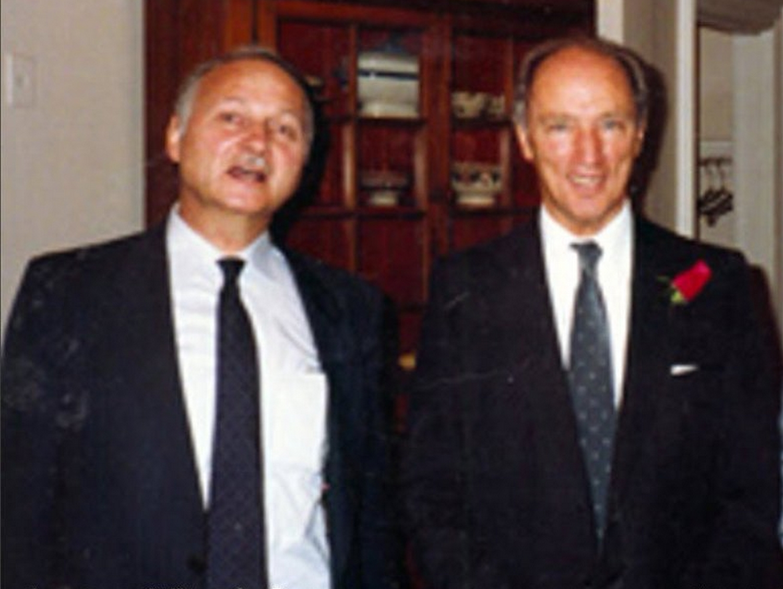 Maurice Strong en compagnie du Premier ministre du Canada Pierre Elliot Trudeau