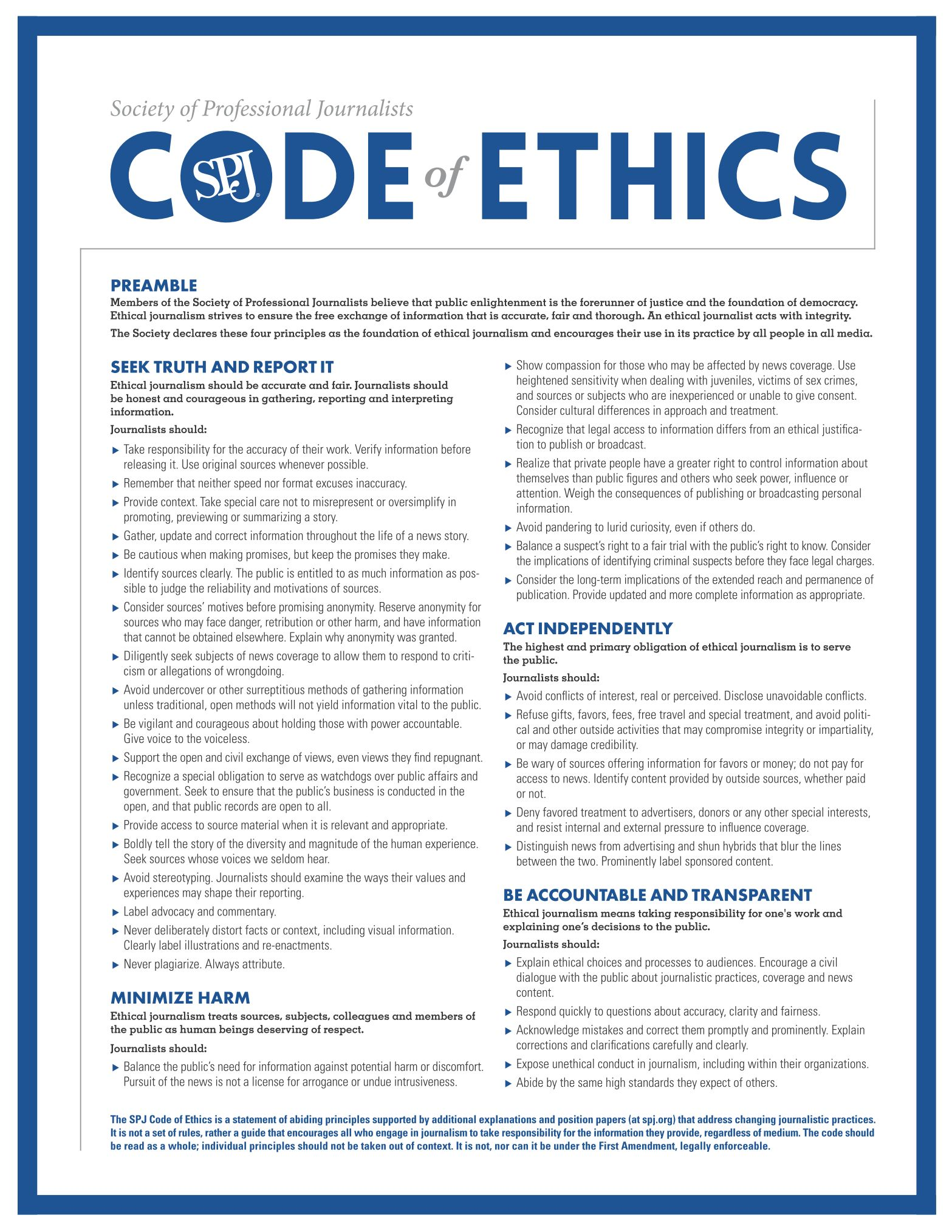 Society of Professional Journalists - Code of Ethics